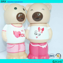 CUSTOMIZED design giant piggy bank/plastic large bear coin bank/plastic 3-parts giant saving money bank