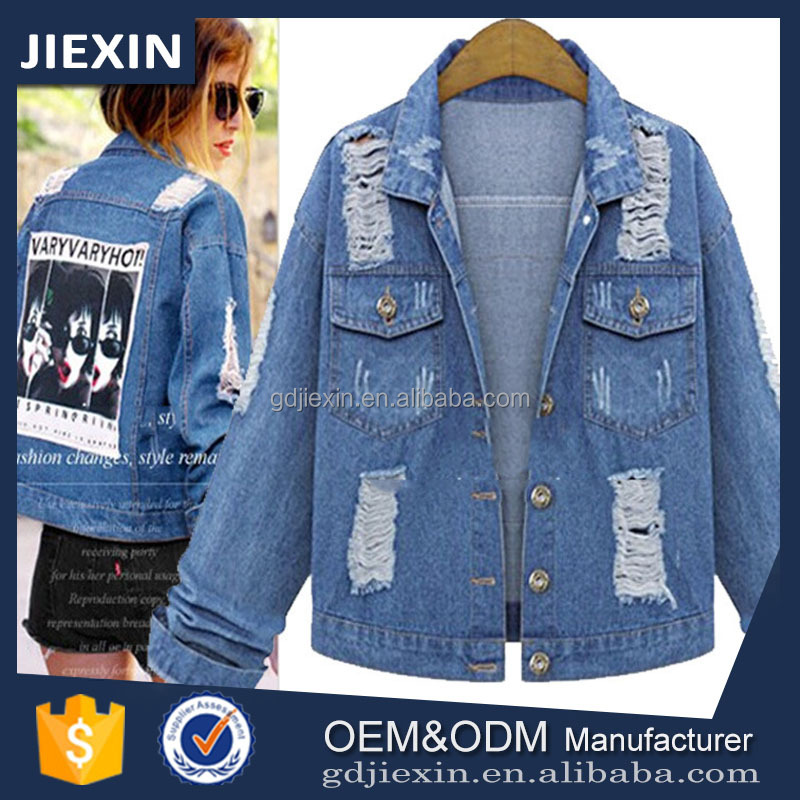 Ladies Clothing Scratch DesignWomen Denim Jacket with OEM Supplier
