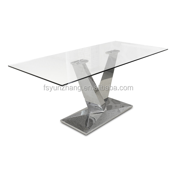 Square stainless steel pedestal dining tables