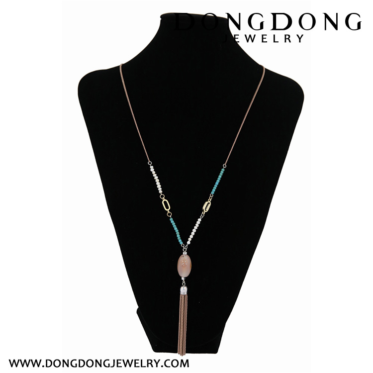 CL076 jade olive type pendant necklace with chain tassel fashion jewelry necklace