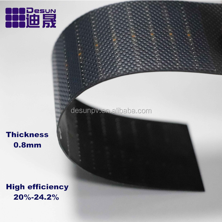 Ultrathin Ultralight high efficiency thin solar panel, Thickness 0.8mm ETFE flexible thin solar pane 0.58W-140W