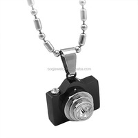 Fashion Wholesale Stainless Steel Hidden Camera Pendant with Luxury Diamond Stones Jewelry