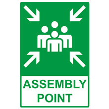 reflective emergency assembly point sign warning sign