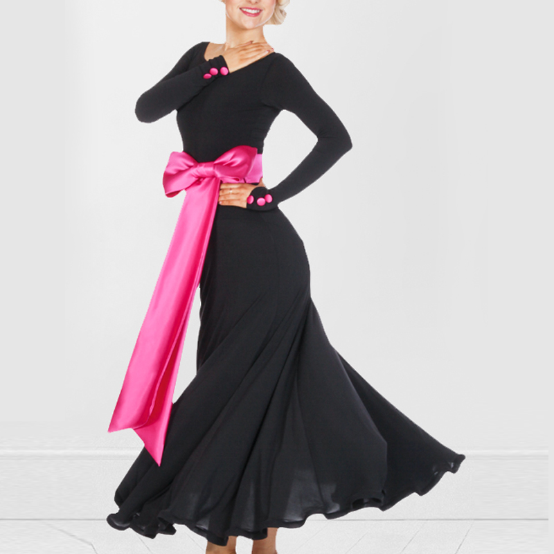 Custom Size Low MOQ Black Long Sleeve Dancing Dress Women's Evening Dress