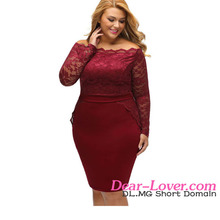 Wholesale Elegant Wine Off Shoulder Lace Plus Size Party Dresses