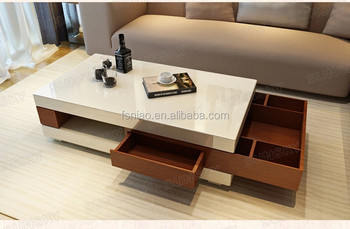 1453A Wholesale Cheap Mdf Coffee Table modern wooden with flexible drawers