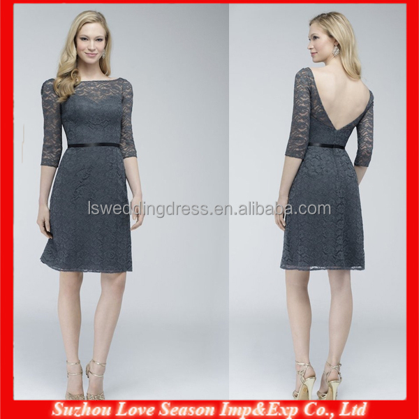 HB0084 New arrival on sale low back elegant western country style A-line formal Gray lace half sleeve bridesmaid dress
