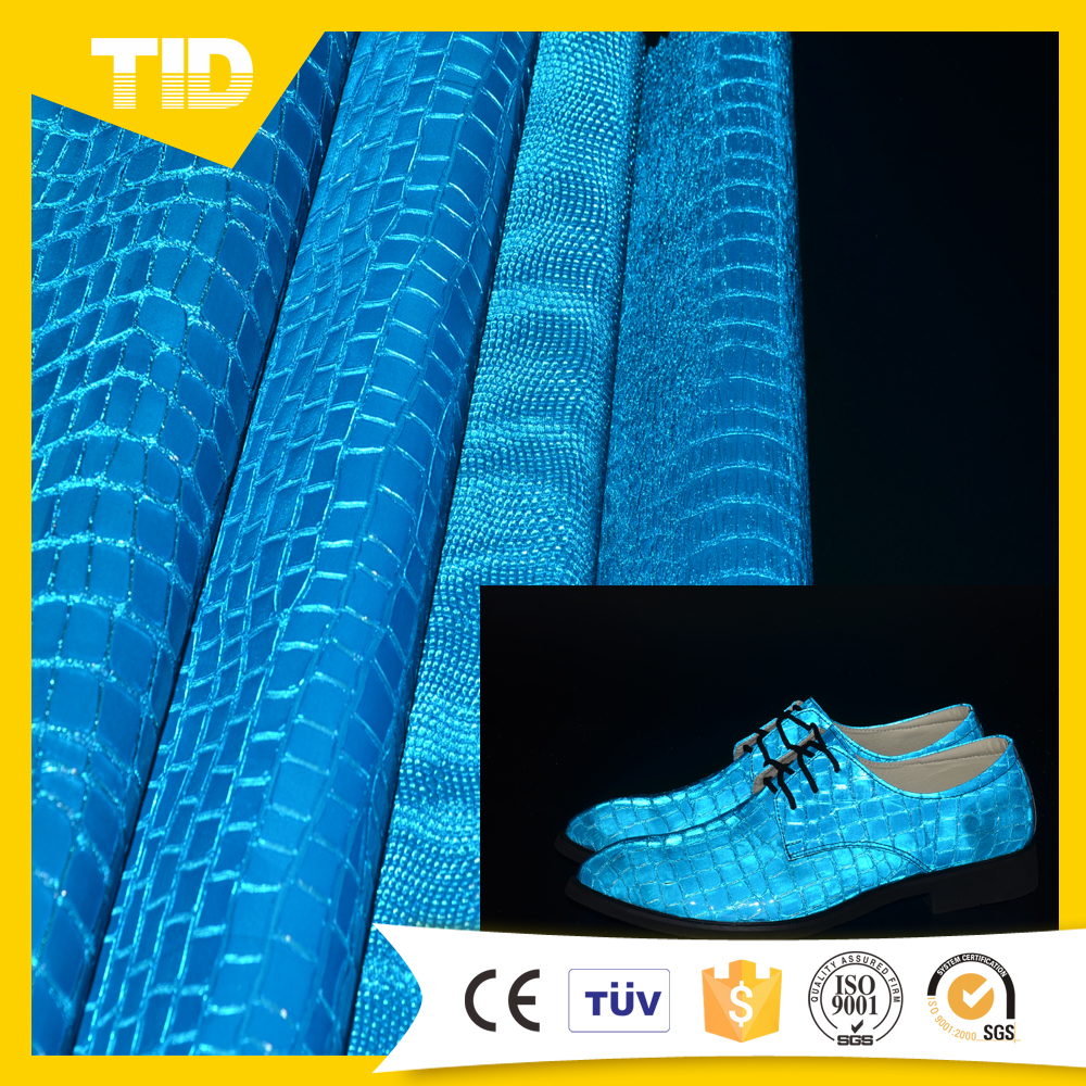 New Fashion Reflective Embossed UV Leather For Shoes