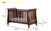 Baby cot crib Style Solid 3 in 1 Sleigh cot bed