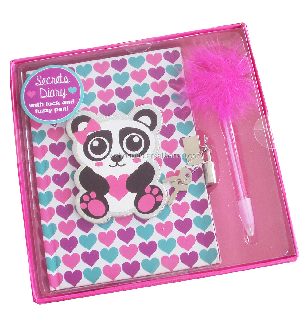 small notebook with pen/pink heart hologram notebook with pen attached