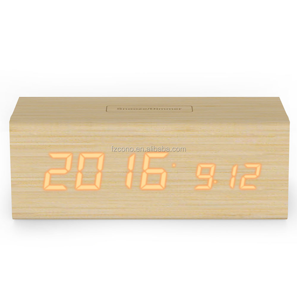 Wooden Digital Thermometer US/EU LED REAL WOOD Dimmable Touch Temperature Sensor Calendar Display Watch Desk Snooze Alarm Clock