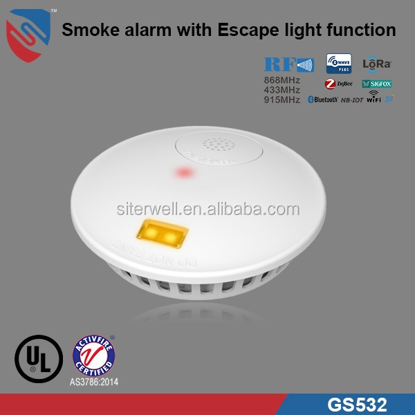 UL ACTIVFIRE Approved Smoke Alarm with Escape Light Fuction & 10 year lithium battery GS532 for Deaf People