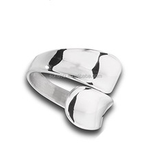 New Fashion Modern Double Spoon Curved Concave Wrap Ring New Stainless Steel Band Sizes 6-10