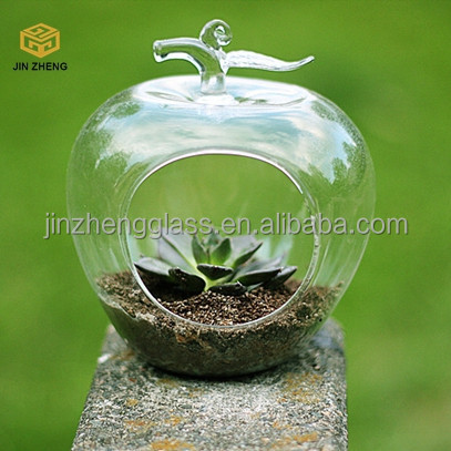 Apple shape Hydroponics vase opening transparent glass hanging