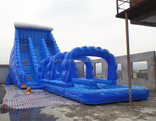 Marble Blue Water Slide Inflatable Giant Inflatable Water Slide N Slip 2 Lane Comercial Grade Inflate Water Slides for Sale