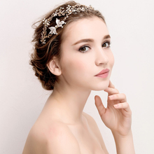 HB0068 JN Stunning Vintage Crystal Pearl Leaf Bow Wedding Gold Tiara Bridal Crown Pincess Headpiece Hair Accessories