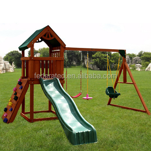 wooden slide and swing set outdoor playground equipment