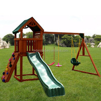 Wooden Slide And Swing Set Outdoor