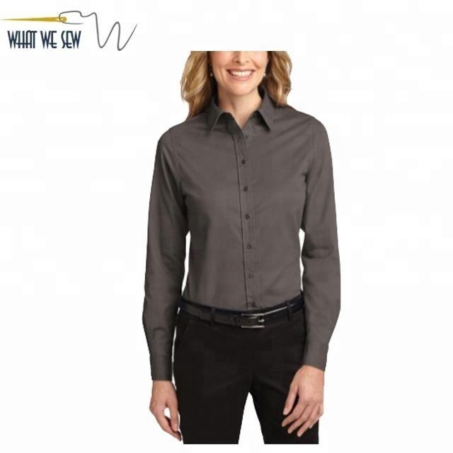 Custom Women Button Down Dress Shirt Long Sleeve Women Dress Shirt