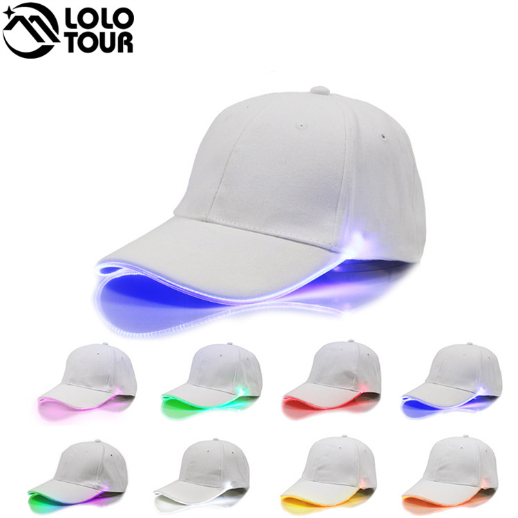Plain White Distressed Hat Sports Outdoor Party LED Flashing Baseball Cap for New York style