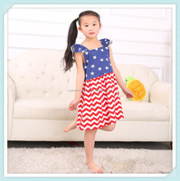 Wholesale chevron cap sleeve dress baby girls smocked dress for christmas summer fancy patriotic blue star match zig zag dress