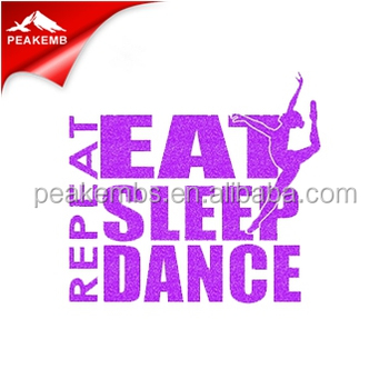 Neon eat sleep dance Glitter hot fix transfer for bling t shirts wholesale