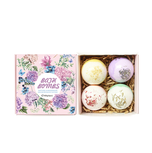 Christmas luxury organic rose lavender bubble fizzy bath bomb gift set packaging