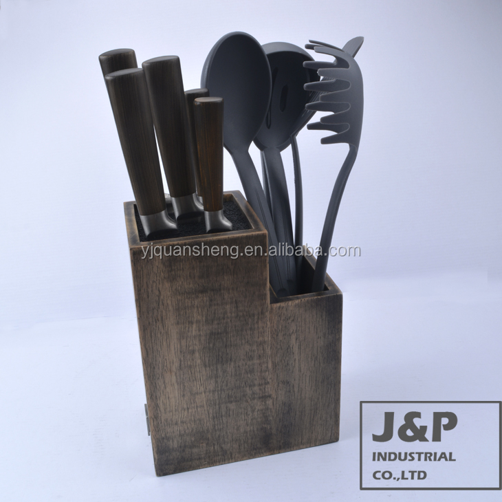 5pcs knife set and 5pcs utensil with wooden block