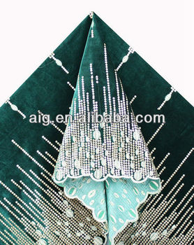 African Velvet Lace Fabric, Velvet Lace with sequins ,5984 GREEN