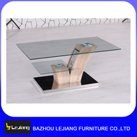 modern tempered glass top wooden coffee table for sale