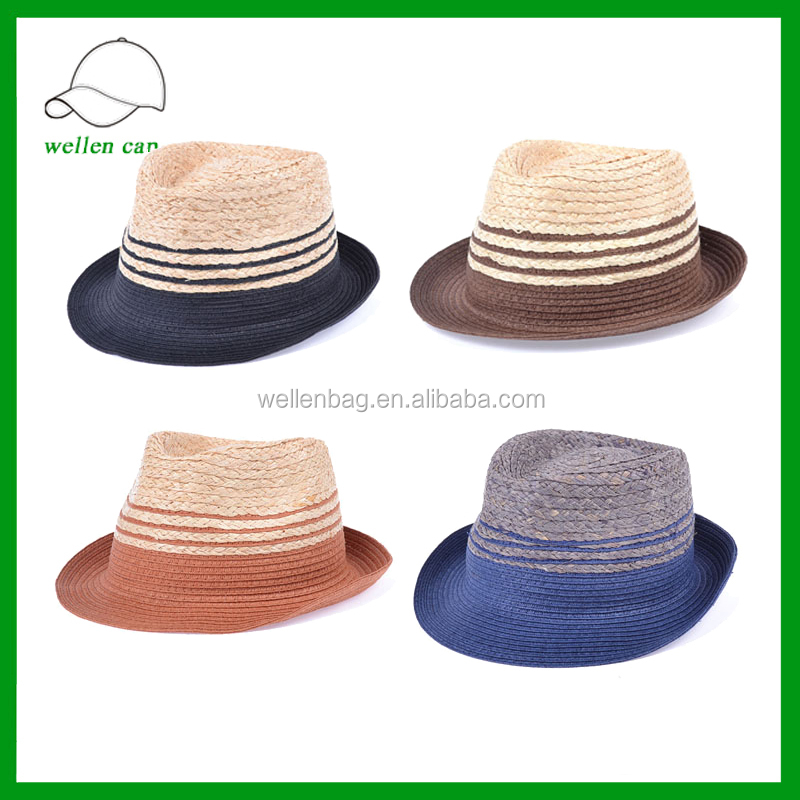 Cheap Colorful Paper Straw Mens Fedora Hats With Logo Ribbon Woven Paper Hat