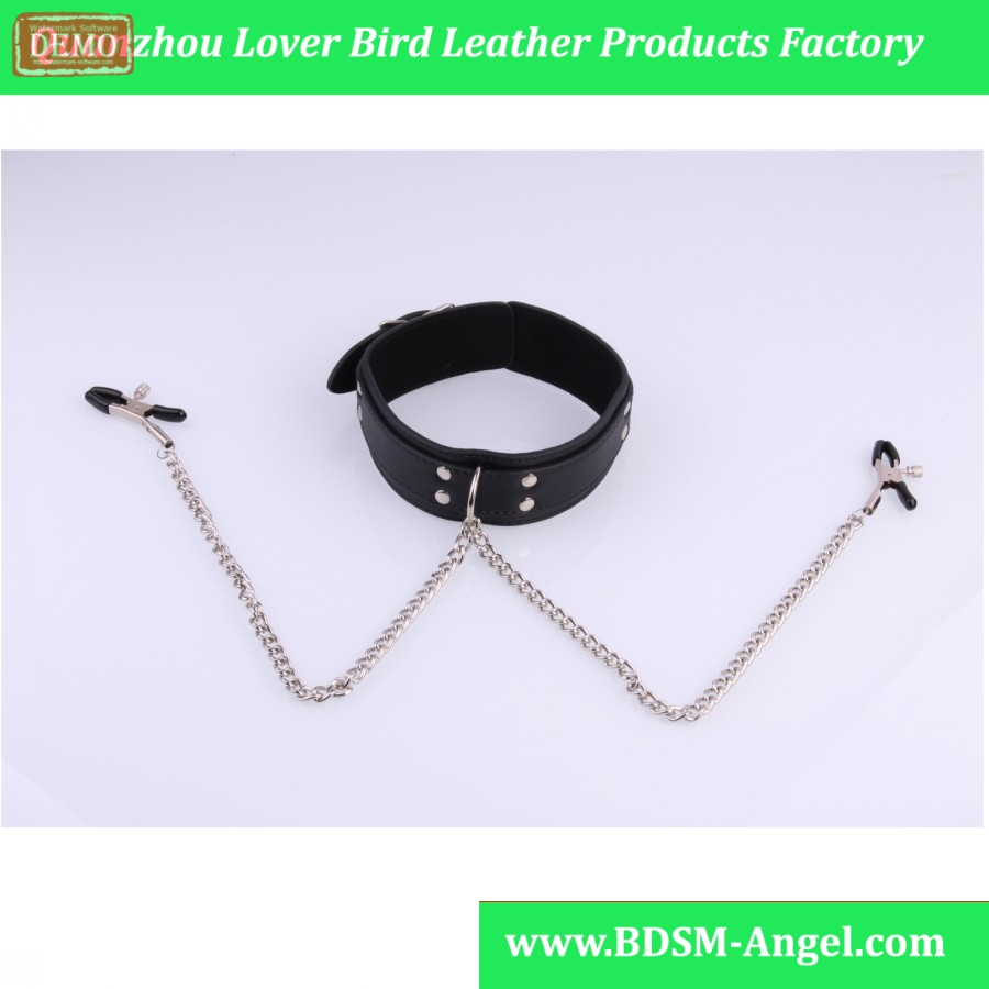 Adult Games 1PC Pu Leather Erotic Dog Sex Bondage Slave Collar With Nipple Clamps sexy Sex Toys For Woman,Erotic Sex Products
