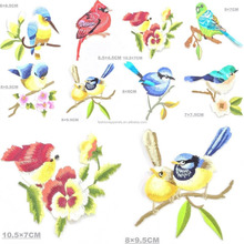 Birds Flowers Robin Bird Applique Embroidered Iron on Patch Set