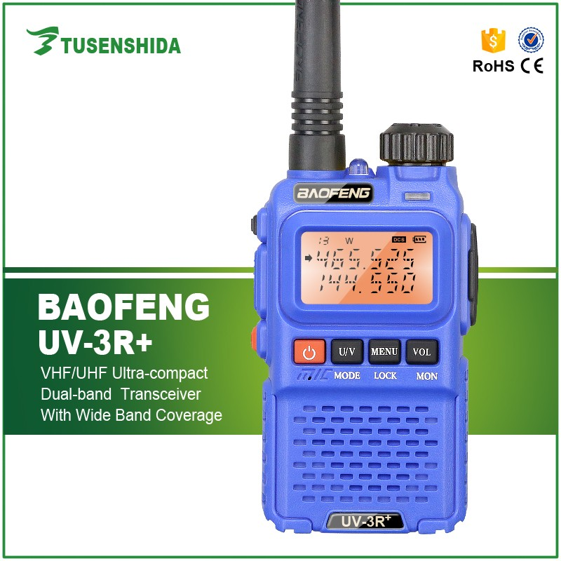 Blue Handheld Baofeng UV 3R+ digital Mobile Walkie Talkie Dual Band FM Interphone Two Way Radio