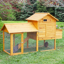 Cheap Large Wood Chicken Coop Guinea Pig Cage With Mesh Wire Nest Hen House With Extra Run & Door