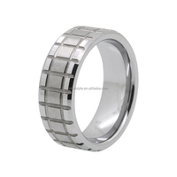 Silver Brushed & polished shiny 8mm fashion mens jewelry tungsten wedding bands