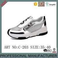 Latest Design Fashion Shinny Zipper Breathable Silver Black Colors Casual Mesh Shoes For Girls