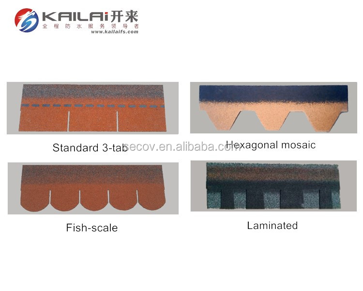 KLAI-201 fish-scale / hexagonal mosaic / standard 3-tab / laminated asphalt shingles in all kinds of colors