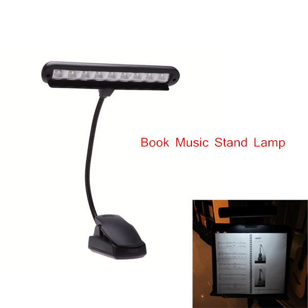 Clip-on LED Light Lamp Flexible Gooseneck 2 Modes Book Music Stand Light Lamp with Adapter for Guitar Musical Instruments
