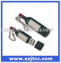 Red Wine Bottle Shape USB Gift Set Wine Bottle USB PVC Keychain Bottle Shaped USB