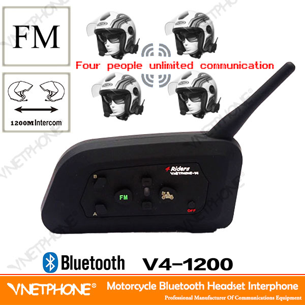 OEM!Vnetphone V4 1200 meters 4 way full duplex talking scooter bluetooth intercom helmet headset