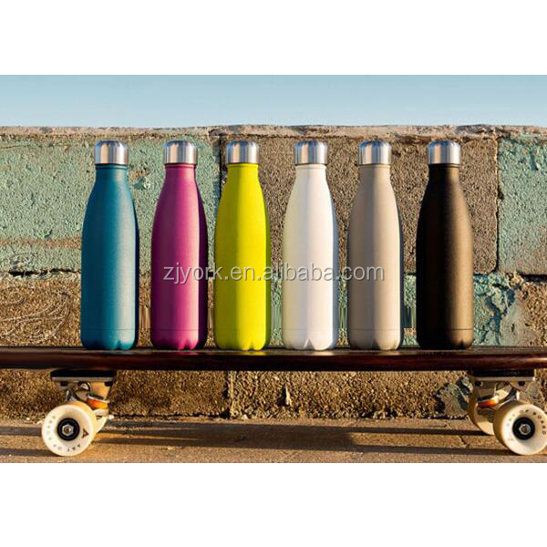 Colorful powder coating with high grade 18/8 stainless steel vacuum insulated thermos drinking swell water bottle
