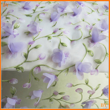 Lilac Floral Embroidery Organza Material 3d Bridal Fabrics