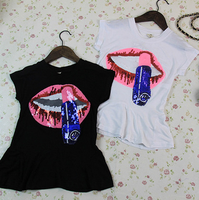 2016 SUMMER T-SHIRTS FOR GIRLS,LIPSTICK AND LIPS PRINTED T-SHIRTS