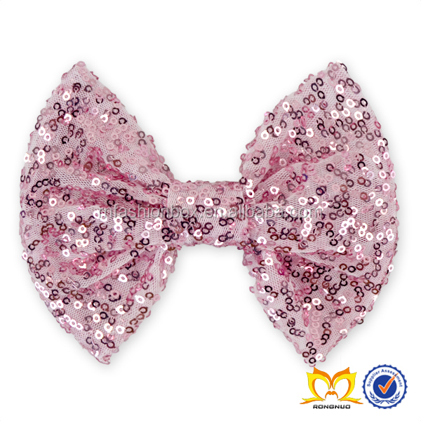 Posh Pink Spark Wholesale Sequin Bow Headband Hair Accessories With Big Bow For Children Sequin Bow Headwraps