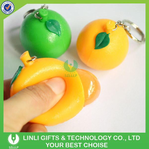 Mini Funny Tangerine Shaped Squeeze Eyes Pop Out Keychain