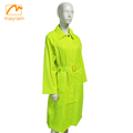 100% polyester wterproof yellow ladies long raincoats