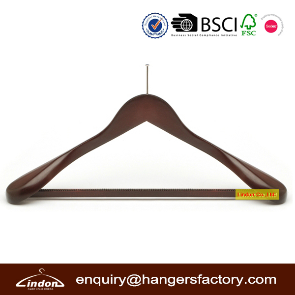 Assessed Supplier LINDON closet pin wooden hotel anti-theft hanger, coats hanger for hotel