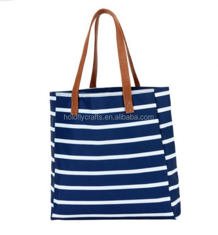 Wholesale hot selling 2018 beach bags monogrammed stripe canvas beach tote bag