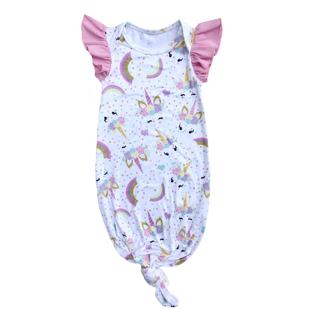 Farm Print Flutter Sleeve Baby Night Gown Knotted Sleeping Gown Pajamas For Baby